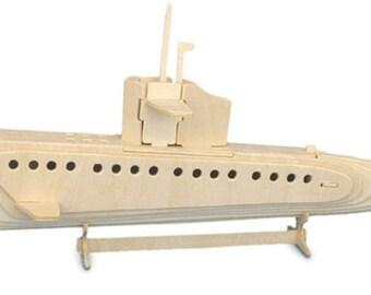 Submarine Woodcraft Construction Kit H13 x L28 x W34cm