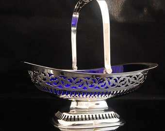Antique Blue Glass Silver Basket