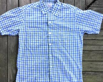 Vintage men's shirt in blue and green plaid short sleeve medium