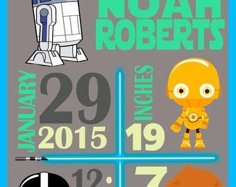 Personalized Star Wars Baby Birth Stats-Digital Print