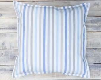 Blue Stripes Pillow with Cotton Cover 40x40 cm