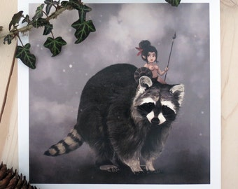 Print - Meeko, raccoon and his Indian warrior