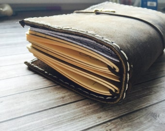 Leather Traveler's Notebook: Handmade and Hand Stitched Dark Brown leather Pen Loop Pocket Field Notes Personal Wide Cahier