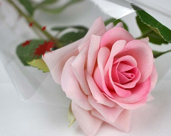Handmade Beautiful Valentines Single Silk Pink Artificial Rose