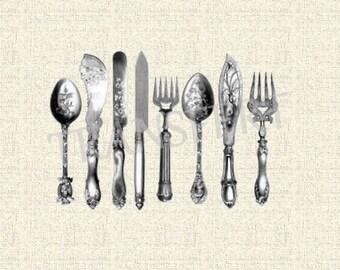 Antique Knife, Fork, Spoon Silverware Cutlery - Vintage ClipArt Digital Printable... transfer...
