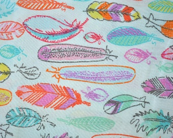 Colorful Feathers Fabric, Feathers Print Quilting and Apparel Fabric, Premium Quality Fabric
