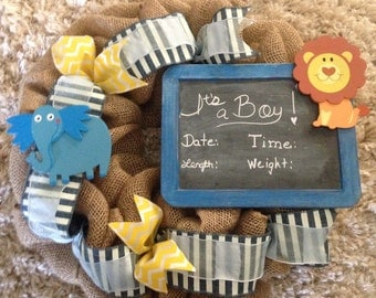 Nursery Wreath, It's a Boy Burlap Wreath, Baby Boy Announcement Wreath, Baby Shower Gift Wreath