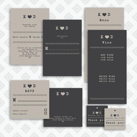 Wedding Invitation / RSVP / Tag /menu Template