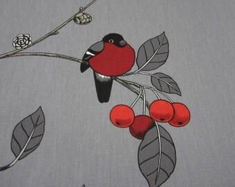 cotton fabric canvas bullfinch berries grey red Paradisäpplen Arvidssons