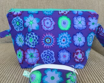 Small Zippered Knitting Project Bag with Matching Notions Pouch