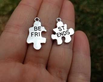 5 sets, Jigsaw puzzle best friend charms, Best Friend Charms, Best Friend Pendant, Matching Best Friend Charms, BFF charms B41188H