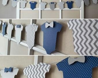 Bow Tie Blue Gray Baby Shower Boy Onesie Garland