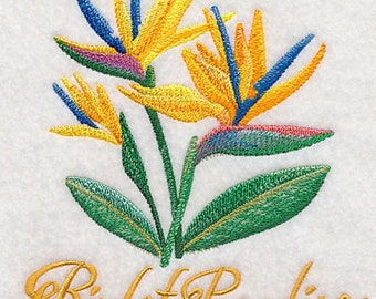 Bird of Paradise in watercolor Embroidered on a Flour Sack Towel