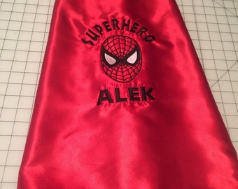 Children's Spider-Man, batman, and superman superheroes cape personalized in any color for your little superhero