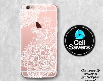 White Henna Clear iPhone 7 Plus iPhone 6s iPhone 6 Case iPhone 6 + iPhone 6s Plus iPhone 5c iPhone 5 SE Clear Case White Line Floral Flower