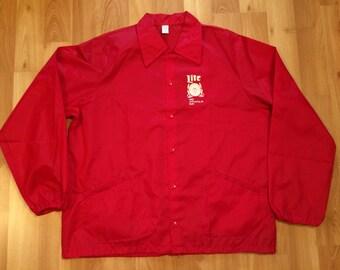 XL 1982 Annapolis 10 Mile Run Miller Lite Bike men's vintage nylon jacket coat windbreaker red white beer jogger runner race 80s 1980s