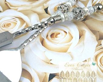 Wedding Cake Server and Knife Set / Swarovski Cake Server Set /  Cake Serving Set / Anniversary Gift / Bridal Shower Gift / Wedding Gift
