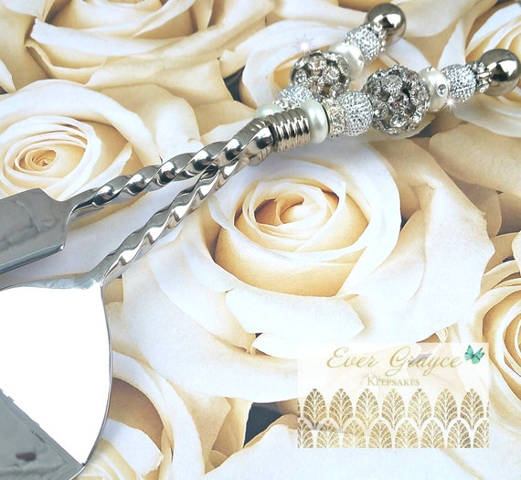 Wedding Gift Cake Knife : Wedding Cake Server and Knife Set / Swarovski Cake Server Set / Cake ...