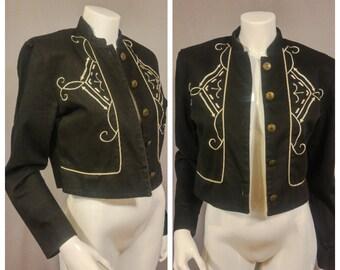 Vintage Panhandle Slim 1980s Black Denim Western Jacket | Embroidered | Medium / Large