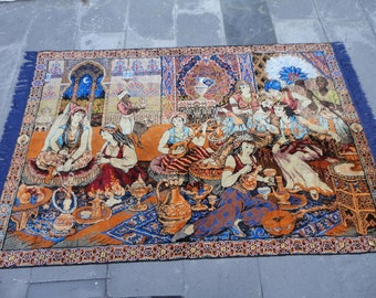 Vintage wall hangings rug,illustrated the harem in the palace,made of velvet,69'' x 46'' inches