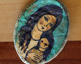Charming Vintage 1960's Paper Papier Mache PIN by Maria...Madonna and Child...Mother and Daughter...Hand Made...Hand Painted
