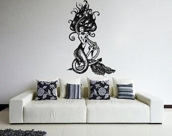 kik1109 Wall Decal Sticker mermaid siren sea nymph naiad anchor living room bedroom