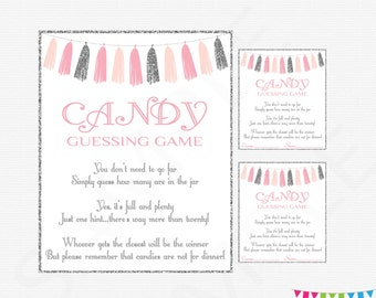 baby shower candy guessing pink and gold baby