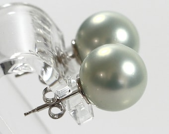 Soft Blue Pearl Post Earrings, 12mm Shell Pearl Earrings, Made in Italy Sterling 925 Earrings, Silver Stud Earrings, Gift For Her