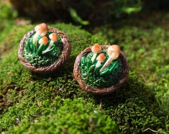 Forest earrings with mushrooms