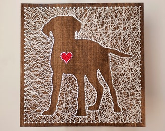 14x14 Dog String Art with Heart