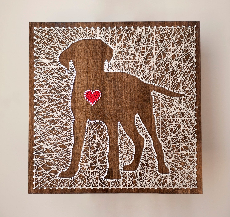 String Art: 14x14 Dog String Art With Heart