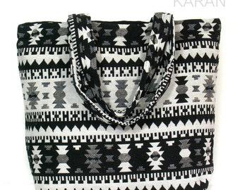 Zip tote large bag ethnic Cotton bag Shoulder bag Weekend bag women handbag