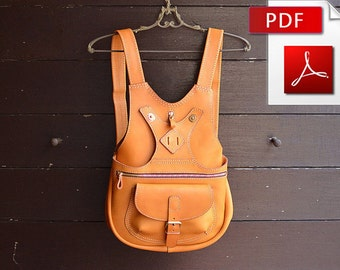 Leather backpack sewing pattern. PDF