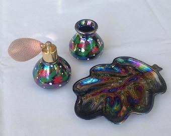Perfume atomiser set in colourful lustre