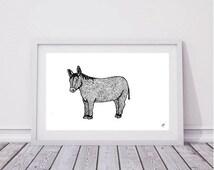 Donkey A4 Print