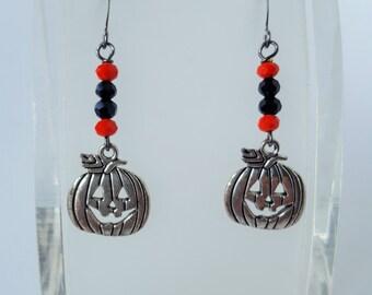 Halloween Pewter Pumpkin Charm Earrings