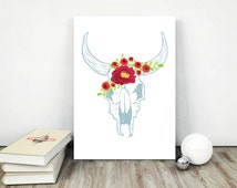 Bluish cow skull with flower wreath (weed, rose). Printable instant download illustration in 5 sizes (card to poster). Youth room wall decor