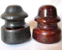 Two Vintage Westinghouse 104 Porcelain Insulators Brown Black