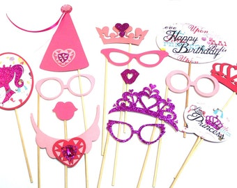 Photo Booth Props - 14PC Pink Princess Party Photo Booth Props