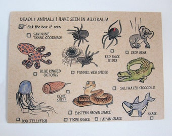 Deadly animals I have seen in Australia, Postcard