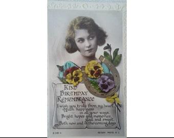 1930's flower, horseshoe and girl birthday card