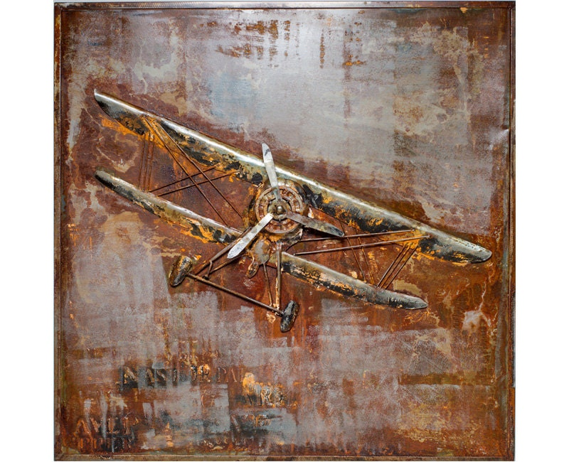 Antique Airplane Metal Wall Art