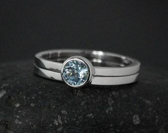 Round Aquamarine Engagement Ring Set – Choose Your Setting