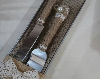 Rustic twine boxed wedding cake serving set