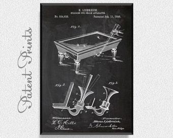 Billiard Cue Chalk 1896 Patent Print, Billiard Prints, Billiard Posters, Billiard Blueprints, Billiard Art, Billiard Wall Art