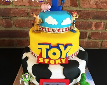 Edible Fondant! Toy Story Cake Topper Decorations: Logo- Clouds- Etch A Sketch With Name