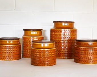Hornsea Saffron Storage Jars - Canister Set of 5 - Retro Kitchen - Vintage Decor