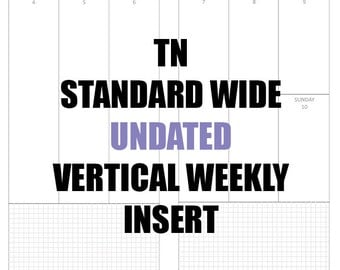 TN Standard WIDE Undated 3 mo Insert: MO2P, Vertical WO2P w/graph paper, Habit Tracker, Online Order Tracking, Monthly Goals & Achievements