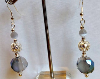 Blue-gray fashion earrings