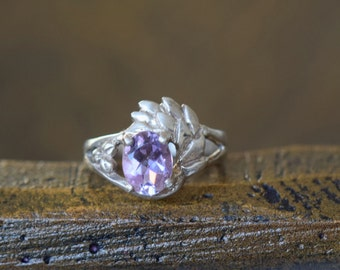 Beautiful Oval Lavender Gemstone Vintage Boho Silver 925 Ring, US Size 4.75, Used